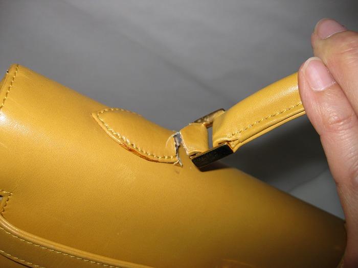ケリー型バックの持ち手付け根の革が千切れ、持ち手がはずれてしまった!!